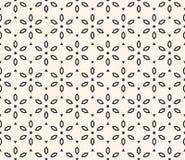 传染媒介几何花卉样式 与花的装饰无缝的纹理 库存例证