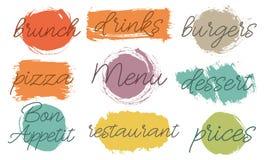 传染媒介刷子被设置的冲程箱子 被绘的小条,回合,正方形 Grunge纹理 测试在框架对于咖啡馆,餐馆菜单 舞步 库存例证