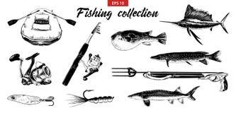 传染媒介刻记了商标、象征、标签或者海报的样式例证 手拉的剪影套钓鱼在白色隔绝的元素 向量例证