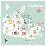 传染媒介加拿大的被说明的动画片地图 皇族释放例证