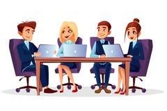传染媒介动画片业务会议,会议 向量例证