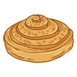 传染媒介动画片例证-与糖面包屑的圆的桂香小圆面包 向量例证