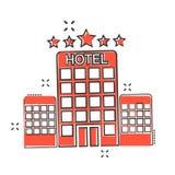 传染媒介动画片在可笑的样式的旅馆象 塔标志illustratio 向量例证