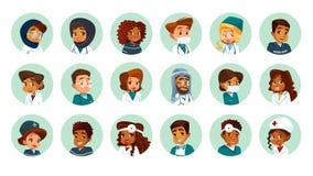 传染媒介动画片多民族医疗具体化被设置 图库摄影