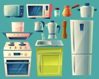 传染媒介动画片套厨房器具 免版税图库摄影
