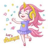 传染媒介动画片女孩孩子跳舞耳机垫铁 库存照片
