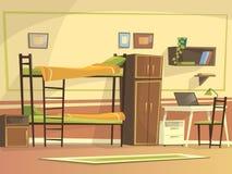传染媒介动画片学生宿舍室内部 免版税库存照片