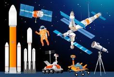 传染媒介动画片探险空间集合 太空火箭,天文学 库存例证