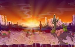 传染媒介动画片沙漠无缝的比赛背景 免版税库存图片