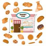 传染媒介动画片酥皮点心面包店商店 免版税库存照片