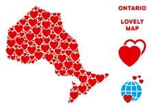 传染媒介华伦泰安大略省心脏地图马赛克  向量例证