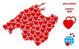 传染媒介华伦泰西班牙马略卡海岛心脏地图马赛克  向量例证