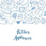 传染媒介厨房器物乱画与地方的象背景文本例证的 库存图片