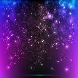 传染媒介发光在紫罗兰色背景飘动 抽象网络五颜六色的背景 库存照片