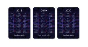 传染媒介口袋日历集合 2018年, 2019年和2020年 蓝色设计模板 向量例证