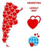 传染媒介可爱的阿根廷地图结构的心脏 库存例证