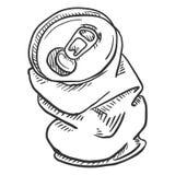 传染媒介唯一剪影被弄皱的啤酒罐 库存例证