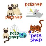 传染媒介商标宠物店的设计网站的模板,徽章和印刷品 皇族释放例证