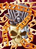 传染媒介国王头骨和链子 皇族释放例证