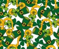 传染媒介圣徒Patricks天无缝的样式 三叶草,三叶草, 库存图片