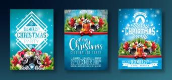 传染媒介圣诞快乐与假日印刷术元素和报告人的党设计在发光的蓝色背景 庆祝 库存例证