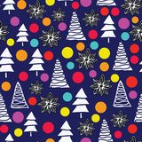 传染媒介圣诞快乐与淡色玻璃球和美洲黑杜鹃的树背景 皇族释放例证