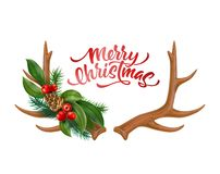 传染媒介圣诞快乐字法垫铁弓霍莉 皇族释放例证