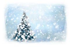 传染媒介圣诞树卡片 图库摄影
