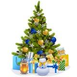 传染媒介圣诞节与蓝色装饰的杉树 向量例证