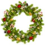 传染媒介圣诞节与金黄星的冷杉花圈 向量例证
