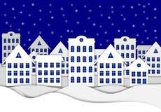 传染媒介圣诞节背景,斯诺伊镇,纸艺术 皇族释放例证