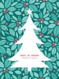 传染媒介圣诞节霍莉莓果圣诞树 免版税库存图片