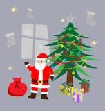 传染媒介在圣诞树旁边的圣诞老人身分 向量例证