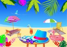 传染媒介在夏天休假设置了所有 海滩辅助部件, 皇族释放例证