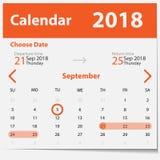 传染媒介在橙色样式的日历模板 库存图片