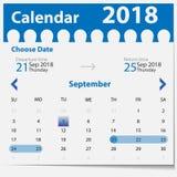 传染媒介在蓝色样式的日历模板 图库摄影