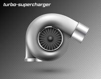 传染媒介在透明背景隔绝的汽车蒸气增压器 现实金属涡轮象 调整的涡轮superchardger 向量例证