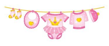 传染媒介垂悬在线的女婴衣裳 库存例证