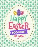 传染媒介复活节与愿望的贺卡-对您的复活节快乐怂恿狩猎五颜六色的样式 库存例证