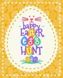 传染媒介复活节与愿望-愉快的复活节彩蛋狩猎五颜六色的样式的贺卡 库存例证