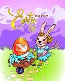 传染媒介复活节卡片用一只时兴的兔子 向量例证