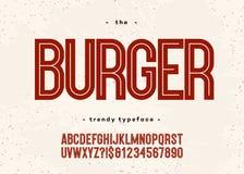 传染媒介大胆的汉堡字体 库存例证