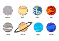传染媒介太阳系8个行星,与被隔绝的阴影的平的动画片对象 向量例证