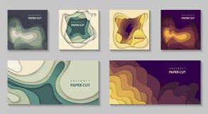 传染媒介套与五颜六色的纸裁减形状的6背景 3D抽象纸艺术样式,企业介绍的设计版面 库存例证