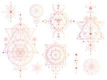 传染媒介套与月亮,眼睛,箭头,在白色背景的dreamcatcher的神圣的几何标志 抽象神秘主义者签署汇集 皇族释放例证