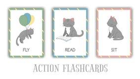 传染媒介套与猫的行动单词 皇族释放例证