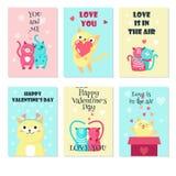 传染媒介套与逗人喜爱的猫的卡片在爱 皇族释放例证
