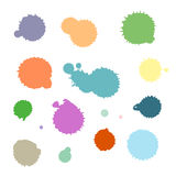传染媒介套五颜六色的墨水飞溅、污点和刷子冲程,隔绝在白色背景 传染媒介系列飞溅,污点, brus 免版税图库摄影