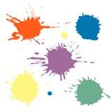 传染媒介套五颜六色的墨水飞溅、污点和刷子冲程,隔绝在白色背景 传染媒介系列飞溅,污点, brus 库存图片