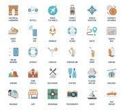 传染媒介套休闲和旅游业平的网象 充分地编辑可能和易使用 免版税库存图片